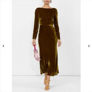 New Saloni Tina low back velvet midi dress